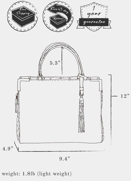 "Sketch of bag indicating: dimensions, height 12"" x  length 9.4"" x width 4.9"" ; weight 1.8 lb ; strap length 5.3"" ; and free shipping, free 45 day returns, and a 1 year guarantee"