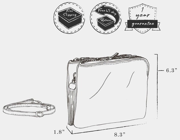 "Sketch of bag indicating: dimensions, height 6.3"" x  length 8.3"" x width 1.8"" ; weight 0.4 lb ; and free shipping, free 45 day returns, and a 1 year guarantee"