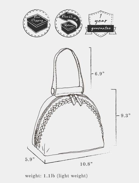 "Sketch of bag indicating: dimensions, height 9.3"" x  length 10.8"" x width 5.9"" ; weight 1.1 lb ; strap length 6.9"" ; and free shipping, free 45 day returns, and a 1 year guarantee"