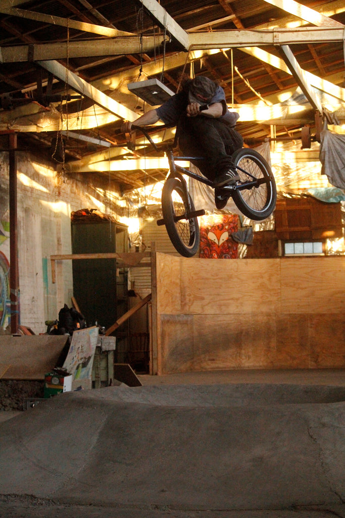 Jimmy Pease getting man hop over the DIY volcano - Anchor Bmx