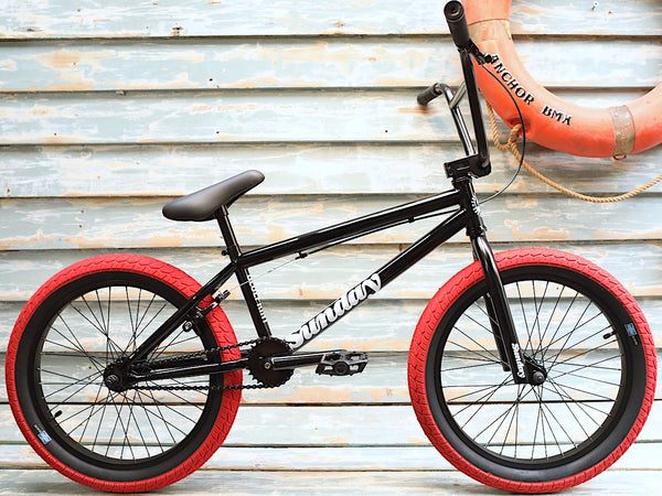 SUNDAY -Sunday Blueprint 2021 Gloss Black/Red Tyres -Complete Bikes -Anchor BMX