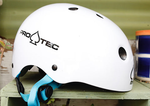 PROTEC HELMETS -Protec Jr Classic Fit Helmet Gloss White (Certified) -HELMETS + PADS + GLOVES -Anchor BMX