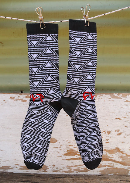 Cult Pattern Socks Blk/White