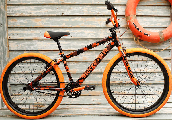 SE BIKES -Se Block Flyer 26 Inch Orange Camo 2021 -Complete Bikes -Anchor BMX