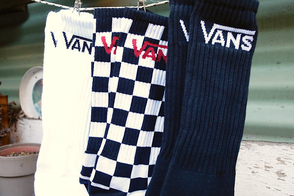 Vans -Vans Classic Crew Socks 3pk Black-Checkerboard -Socks -Anchor BMX