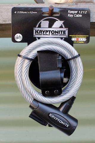 Kryptonite -Kryptonite 1212 Coiled Key Cable Lock 12mm -TOOLS + LOCKS + LIGHTS + PUMPS -Anchor BMX
