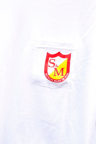 S & M bikes -S&M Whip Girl Pocket Tee White -CLOTHING -Anchor BMX