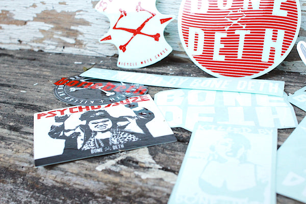 BONE DETH -Bone Deth Assorted Sticker Pack -Magazines + stickers+patches -Anchor BMX