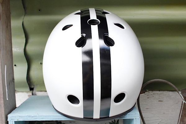 S1 HELMETS -S1 Retro Lifer Helmet White With Blk Stripe -HELMETS + PADS + GLOVES -Anchor BMX