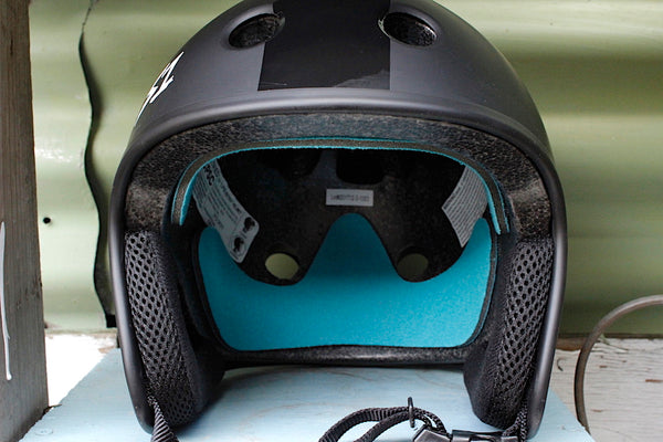 S1 RETRO LIFER HELMET MATTE BLK WITH BLK STRIPE FULL CUT