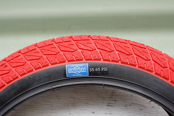 SUNDAY CURRENT 16 INCH BMX TYRE RED