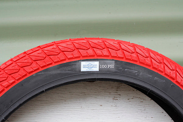 SUNDAY CURRENT 20 INCH BMX RED TYRE