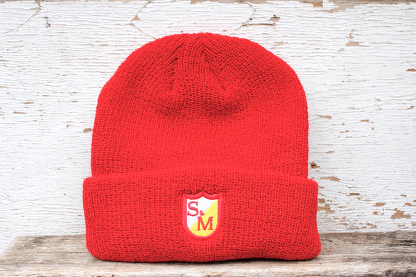 S&M BIKES SHIELD EMBROIDERED BEANIE RED
