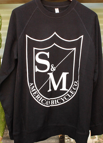 S & M bikes -S&M Big Shield Crew Neck Sweatshirt Black -CLOTHING -Anchor BMX