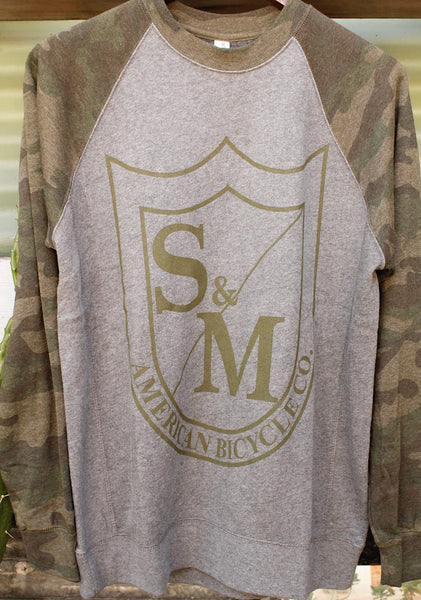 S & M bikes -S&M Big Shield Crew Neck Sweatshirt Camo -CLOTHING -Anchor BMX