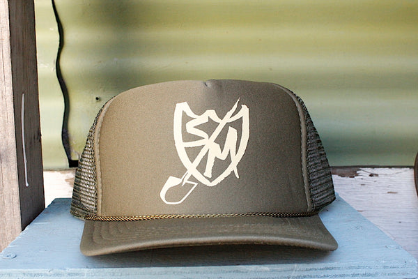 S&M Shovel Shield Trucker Hat green