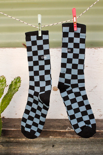 Vans Checkerboard Crew ll Socks Bluestone