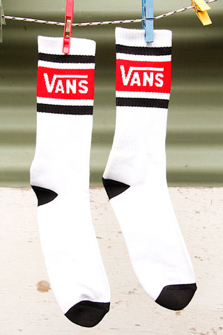 Vans Tribe Crew Socks Wht/Red/Blk