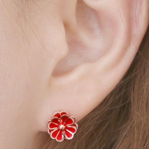 Daisy Red Stud Earrings with 14K Gold Pin