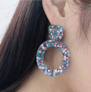 Colorful Hollow Round Acrylic Earrings