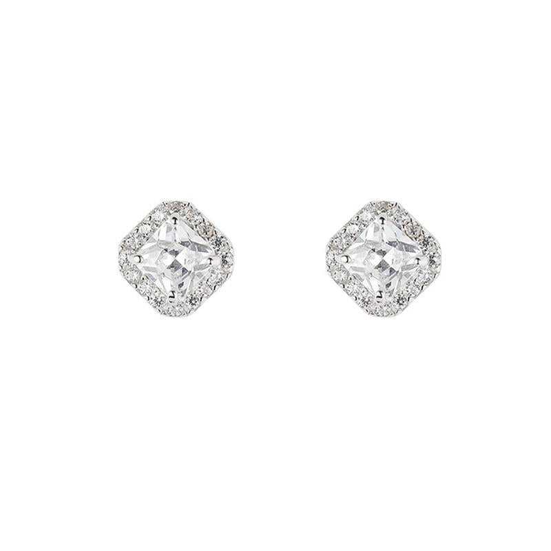 A1giftshop jewelry earrings for ladies Vivia Square Halo Earrings with Swarovski Crystal