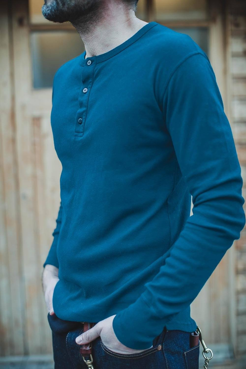 &SONS Indigo Elder Henley Shirt