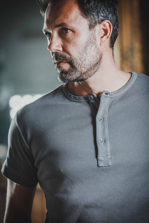 &SONS The Original Elder Henley Short Sleeve Shirt Grey Shirts &sonsclothing