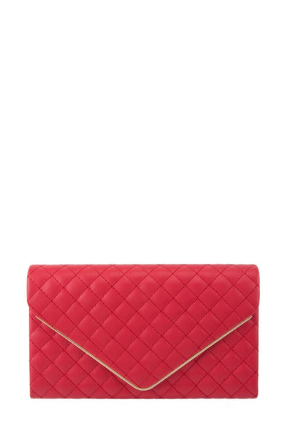 Red, quilted cross body-clutch