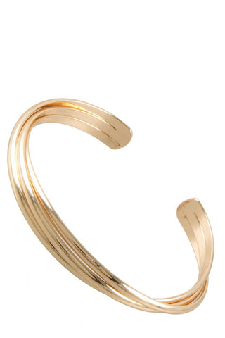 Twisted gold metal bracelet