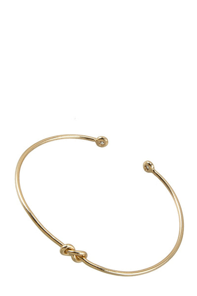 Brass wire knotted bracelet with cubic zirconia accents