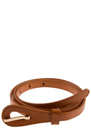 Skinny camel colored leather belt