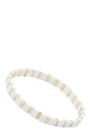 White stretch bangle bracelet