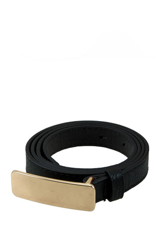 Black belt with large gold belt buckle