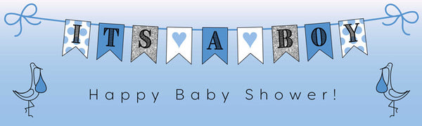 Printed baby boy banner in blue 1