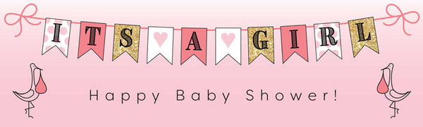 Printed baby girl banner in pink