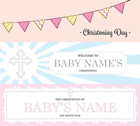 Selection of christening banners vinyl printed