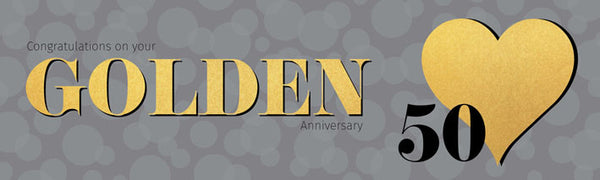 Uk printed Banner Golden 50th anniversary vinyl banner