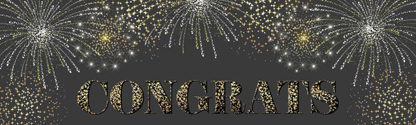 Fireworks congrats display banner Uk printed Banner