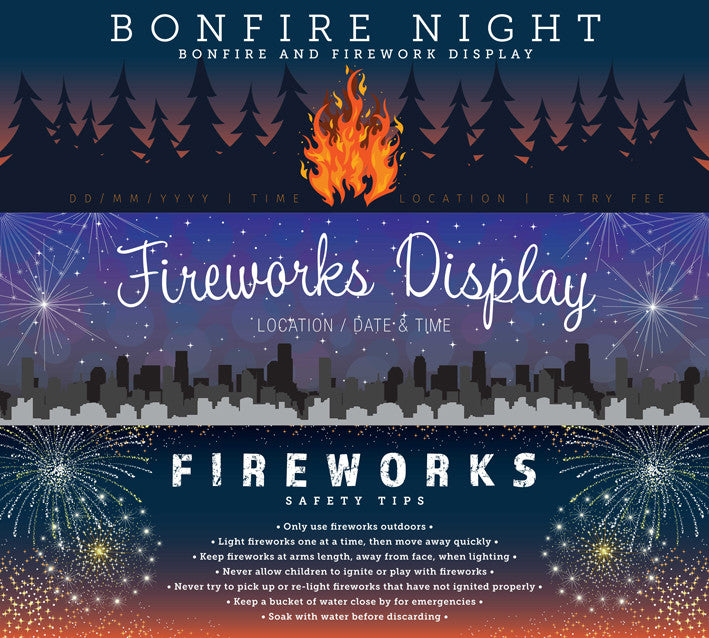 Selection of our firework banners Printed UK Banners