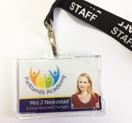 custom plastic id badge lanyard