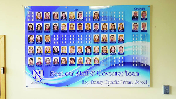 Large meet the staff photo board