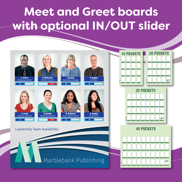 Meet and Greet boards with IN OUT slider