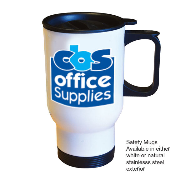 Printed safety mug in white