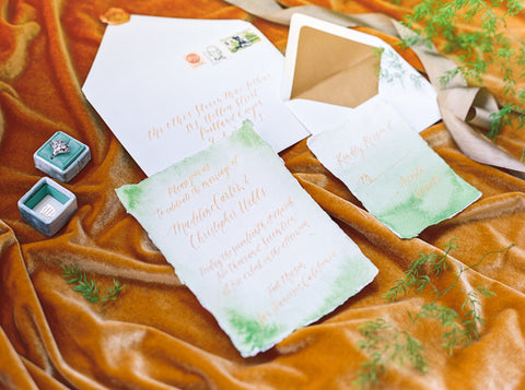 mint green gold wedding invitation set