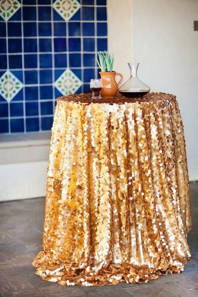 gold matte sequin tablecloth