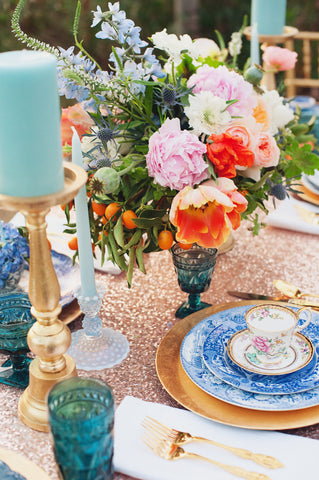 Sequin tablecloth with bright flowers