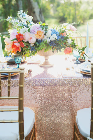 Champagne sequin tablecloth setting