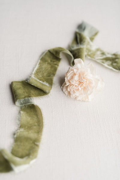 sage silk velvet ribbon
