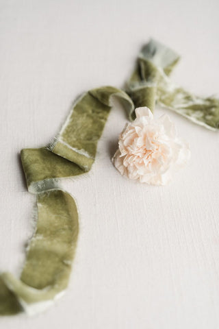 Emerald Green Velvet Silk Ribbon