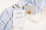 French Blue Silk Table Runner
